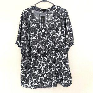 NEW Lane Bryant Lace Up Black Short Sleeve Blouse